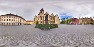 Statue of Georg Daniel Teutsch, Piata Albert Huet, Sibiu, Romania. 360 panorama of a Lutheran Cathedral Churchyard, in front of the statue of Georg Daniel Stock Photos