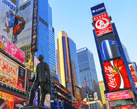 Statue of George Cohan on Times Square. New York, USA - April 26, 2015: Statue of George Cohan on Times Square at 7th Avenue and Broadway in Midtown Manhattan Stock Photography