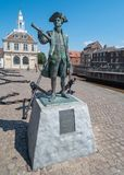Statue of George Vancouver in King`s Lynn, Norfolk, England. Statue of George Vancouver and Custom House in King`s Lynn, Norfolk, England, United Kingdom stock image