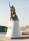 Statue George the Victorious. In Russian village Stock Images