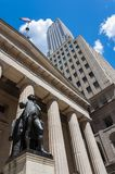 The statue of George Washington in front of the Federal Hall in Wall Street, New York City. USA royalty free stock photos