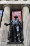 Statue of George Washington in New York City, USA. New York City, USA - August 1, 2018: Statue of George Washington in the facade of the Federal Hall National stock photo
