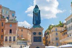 Statue of Giordano Bruno in Campo de Fiori in Rome. Stock Photos