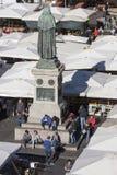Statue of Giordano Bruno and open market in Rome - Campo de Fiori Royalty Free Stock Photos