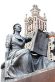 Statue of a girl with a book in front of entrance to the main building of Lomonosov Moscow State University Royalty Free Stock Image