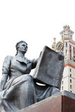 Statue of a girl with a book in front of entrance to the main building of Lomonosov Moscow State University Stock Photo