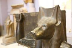 Statue of God Anubis - Cairo Museum close up stock photo