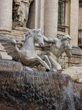 Statue of god Triton with shell with horse - part of the Trevi F Stock Photography