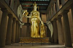 Statue of Goddess Athena. Statue of Athena, goddess of wisdom, located in replica of Parthenon (Nashville Tennessee); holding Nike, goddess of victory in right Royalty Free Stock Photos