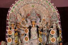Statue of goddess durga, decorated during navratri pooja. Durga puja  Navrata – Vacation Bonanza in West Bengal Stock Image