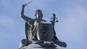 Statue of Goddess of Justice Themis in Tomsk royalty free stock images
