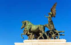 Statue of goddess Victoria on Vittorio Emanuele II Monument in Rome Stock Image