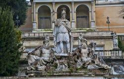 The statue of Godess Roma in Piazza del Popolo, Rome, Italy. At the fountain `Fontana della Dea Roma stock photos