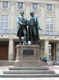Statues of Goethe and Schiller in Weimar, Germany Royalty Free Stock Images
