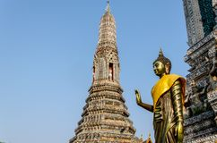 The statue of Golden Buddha in Wat Arun.  Thai traditional Royalty Free Stock Photo
