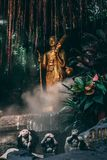 Statue at the Golden Mountain in Bangkok. 3 Monkeys in the foreground and in the back golden Statue between fog and the garden. stock image
