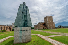 Statue of Gonzalo Fernandez de Oviedo in front of fortress in old part of Santo Domingo, Dominican Republic Stock Images