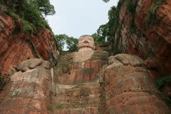 Statue grande de Bouddha dans Leshan Photo stock