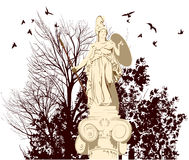 Beauty Athena statue with birds Stock Photography