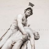 Statue of greek hero Menelaus holding Patroclus in Florence Royalty Free Stock Photos