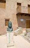 Statue of Greek poet Yiannis Ritsos in Monemvasia Stock Photography