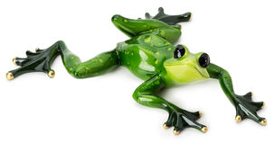 Statue of green frog on the white background Stock Image