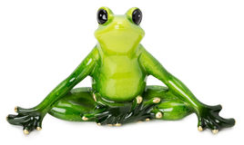 Statue of green frog on the white background Royalty Free Stock Images