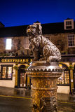 A statue of Greyfriars Bobby in Edinburgh. EDINBURGH, SCOTLAND -DEC 10: A statue of Greyfriars Bobby in Edinburgh on December 10, 2015. Bobby was a dog who Royalty Free Stock Photos