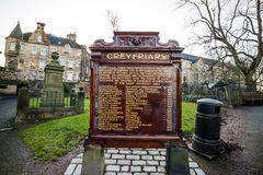 A statue of Greyfriars Bobby in Edinburgh. EDINBURGH, SCOTLAND -DEC 10: A statue of Greyfriars Bobby in Edinburgh on December 10, 2015. Bobby was a dog who Royalty Free Stock Images