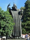 Statue of Grgur Ninski. Large bronze statue of the Bishop Grgur Ninski next to the Church of Saint Ansel in Split, Croatia. He introduced using Croatian language stock image