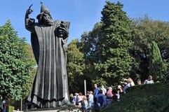 Statue of Grgur Ninski. Large bronze statue of the Bishop Grgur Ninski next to the Church of Saint Ansel in Split, Croatia. He introduced using Croatian language stock photography
