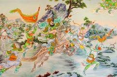 Statue Of Guan Yu deva [God of honor] paint fine art on door. Royalty Free Stock Photos