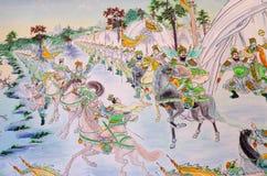 Statue Of Guan Yu deva [God of honor] paint fine art on door. Royalty Free Stock Images