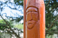 The statue of the guard, carved from pine Stock Photos