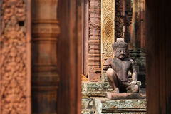 Statue of guardian spirit at Angkor wat temple, Ca Royalty Free Stock Photo