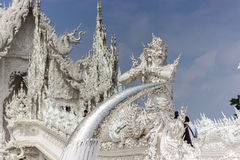Statue of a guardian in the White temple, Thailand Stock Photos