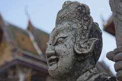 Statue guarding the Wat Po temple. In Thailand Royalty Free Stock Image