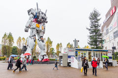 Statue of Gundam at DivercCity with raining Tokyo Plaza in Tokyo Japan Stock Photos