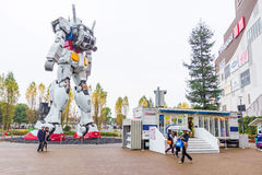 Statue of Gundam at DivercCity with raining Tokyo Plaza in Tokyo Japan Stock Images