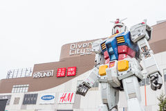 Statue of Gundam at DivercCity with raining Tokyo Plaza in Tokyo Japan Royalty Free Stock Image