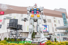 Statue of Gundam at DivercCity with raining Tokyo Plaza in Tokyo Japan Stock Photography