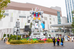 Statue of Gundam at DivercCity with raining Tokyo Plaza in Tokyo Japan Royalty Free Stock Photo