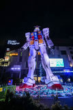 Statue of Gundam model at night taken at Odaiba Tokyo Royalty Free Stock Photos