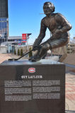 Statue of Guy Lafleur. MONTREAL CANADA FEBRUARY 03: Statue of Guy Lafleur in front the Bell Center on february 03 2013 in Montreal Canada. Lafleur is the all Royalty Free Stock Images
