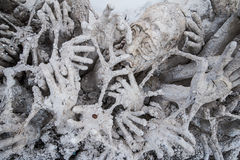 Statue hand 7. Hands Statue from Hell in Wat Rong Khun at Chiang Rai, Thailand royalty free stock image