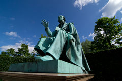 Statue of Hans Christian Andersen in Copenhagen. Statue of Hans Christian Andersen in Kings Garden in the center of Copenhagen Royalty Free Stock Photo