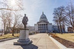 Statue of Hans Christian Heg in front of Wisconsin state capitol Stock Photo
