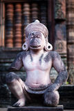 Statue of Hanuman in Banteay Srey Temple, Cambodia. Ancient statue of Hindu God Hanuman in Banteay Srey Temple in Angkor Area, Cambodia. Banteay Srey is a 10th Stock Image