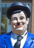 Statue of Heavyset American Oliver Hardy. GRANBY QUEBEC CANADA 07 24 17: Statue of Heavyset American Oliver Hardy 1892–1957 was an American comic actor royalty free stock photo
