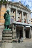 Statue of Henrik Ibsen in Oslo, Norway. Oslo, Norway - June 26, 2018: Statue of Henrik Ibsen in front of the Oslo`s National Theater. Norway`s main arena for stock photo